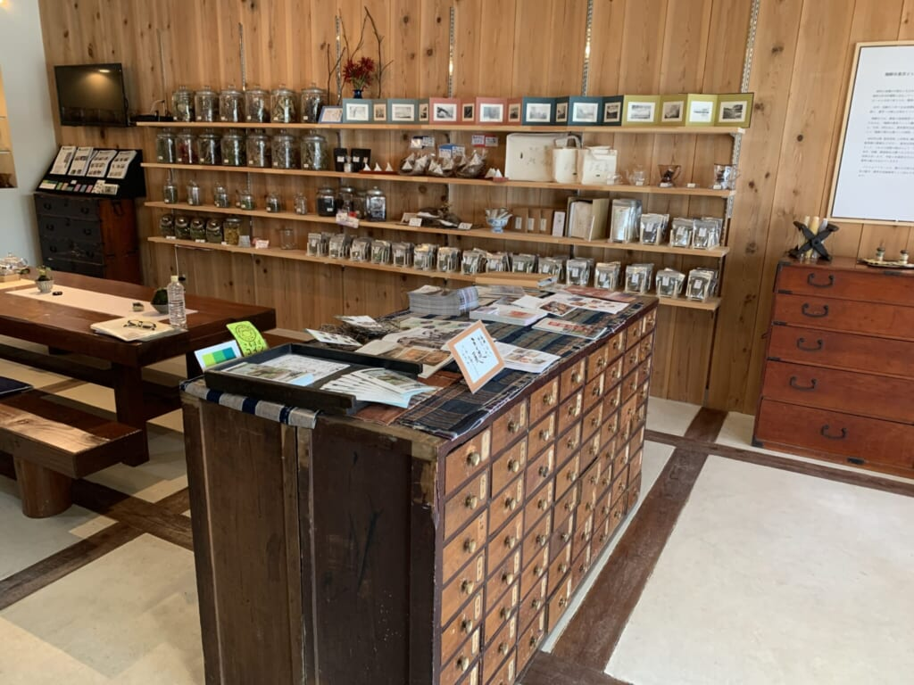 traditional Japanese medicinal herbs in a tea house in Hida in Japan
