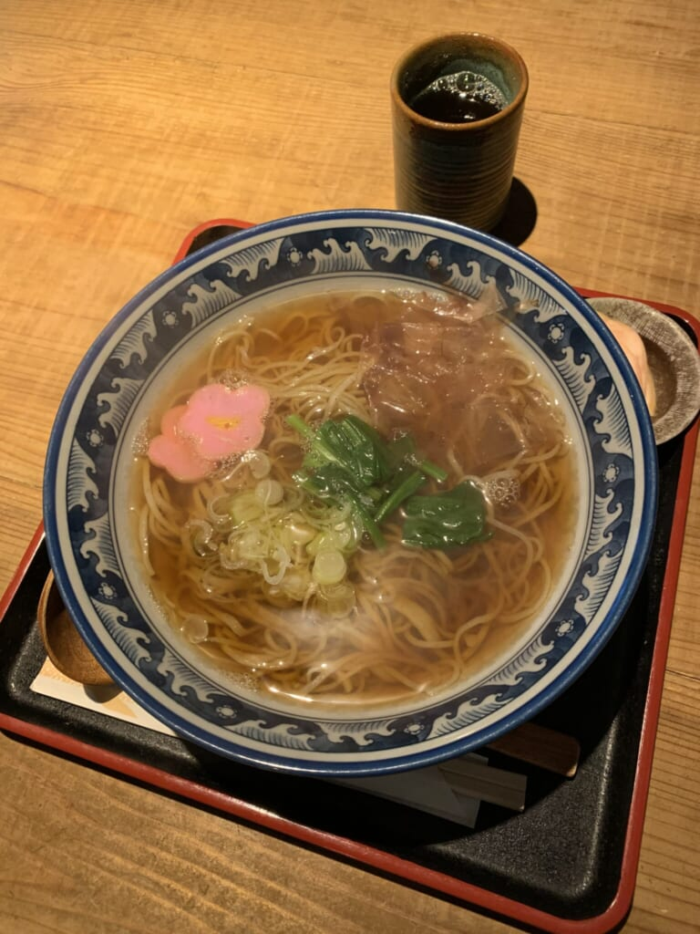 bowl of Japanese Hida soba served on a tray in Japan