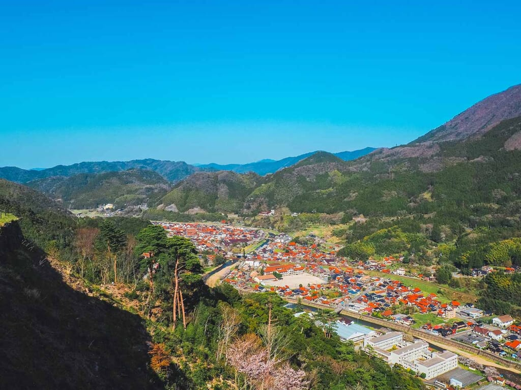 Tsuwano cityscape and mountains as seen from the ruins of the Japanese castle in Shimane, Japan
