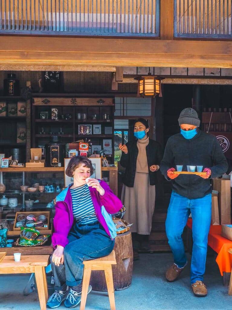 Drinking JApanese Zaracha tea in Tsuwano