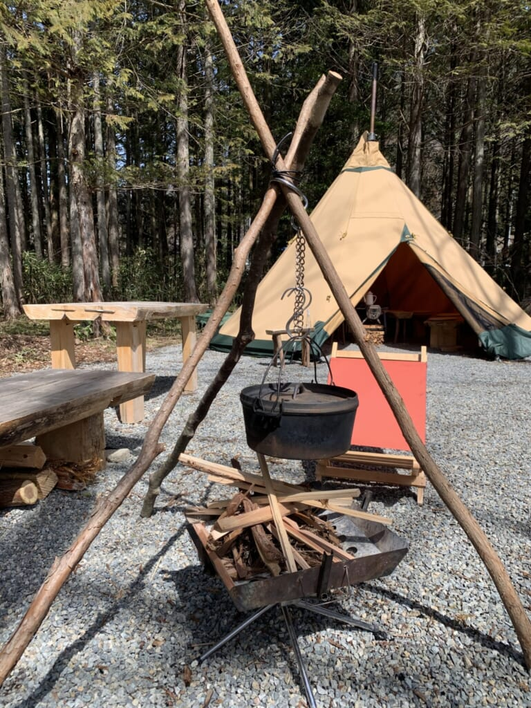 campfire and tent in Gifu, Japan