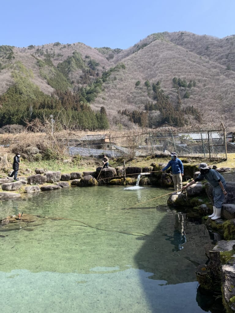 people fishing in a pond