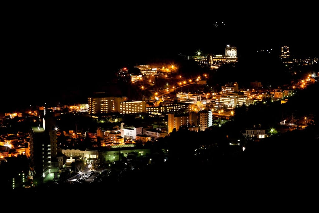 night view of gero onsen city in JApan