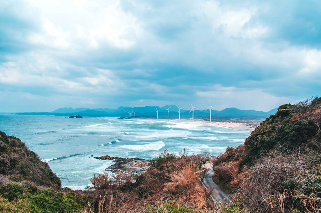 View of the Japanese wind farm in the distance with the powerful SEa of Japan