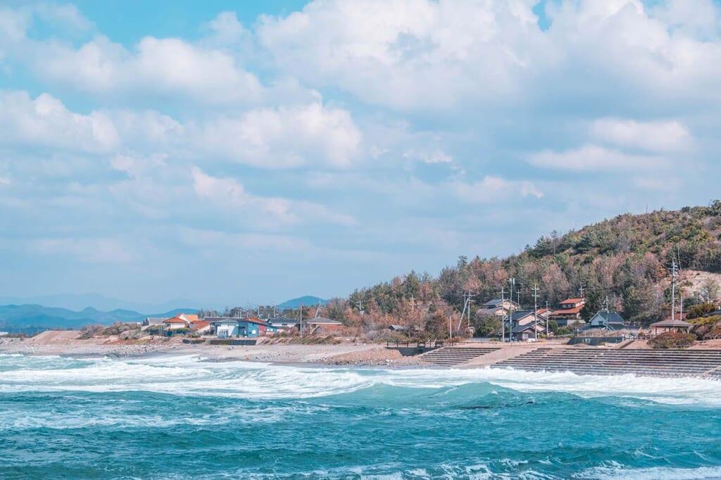 The rugged Japanese coastline and blue ocean