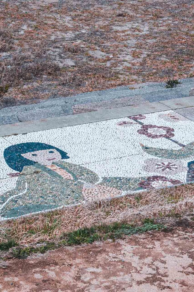 Japanese Mural art design on the ground in Japan