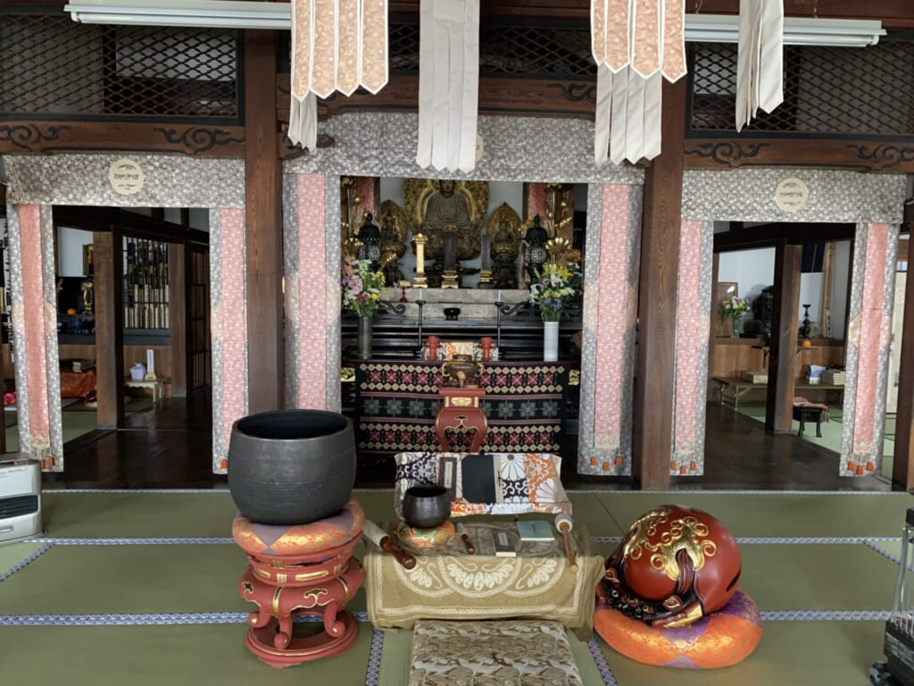 interior of Japanese temple's main room in Takayama, Gifu, Japan