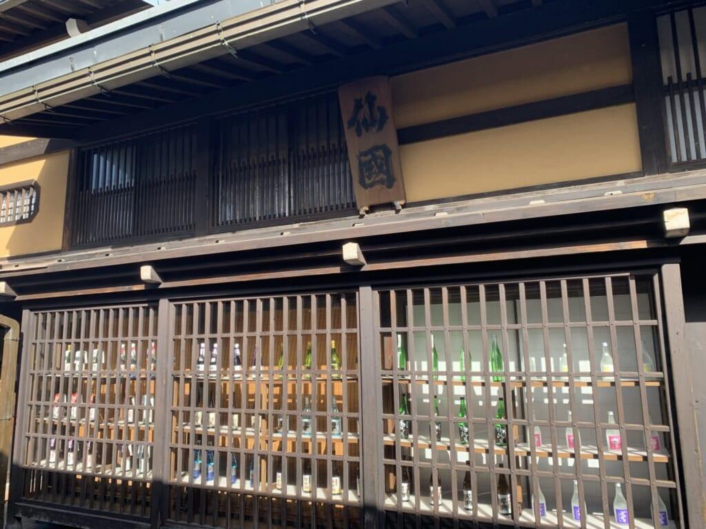 JApanese sake brewery storefront with wood lattice