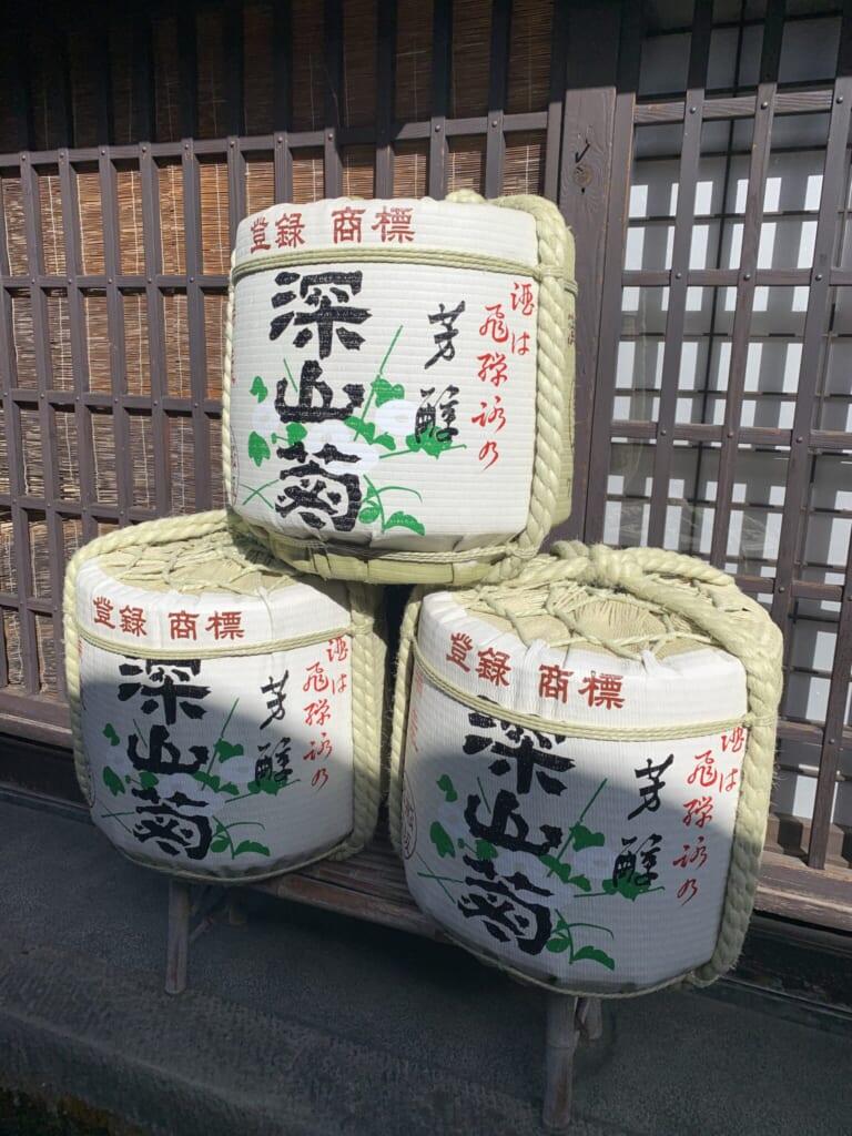 Japanese sake barrels in Takayama