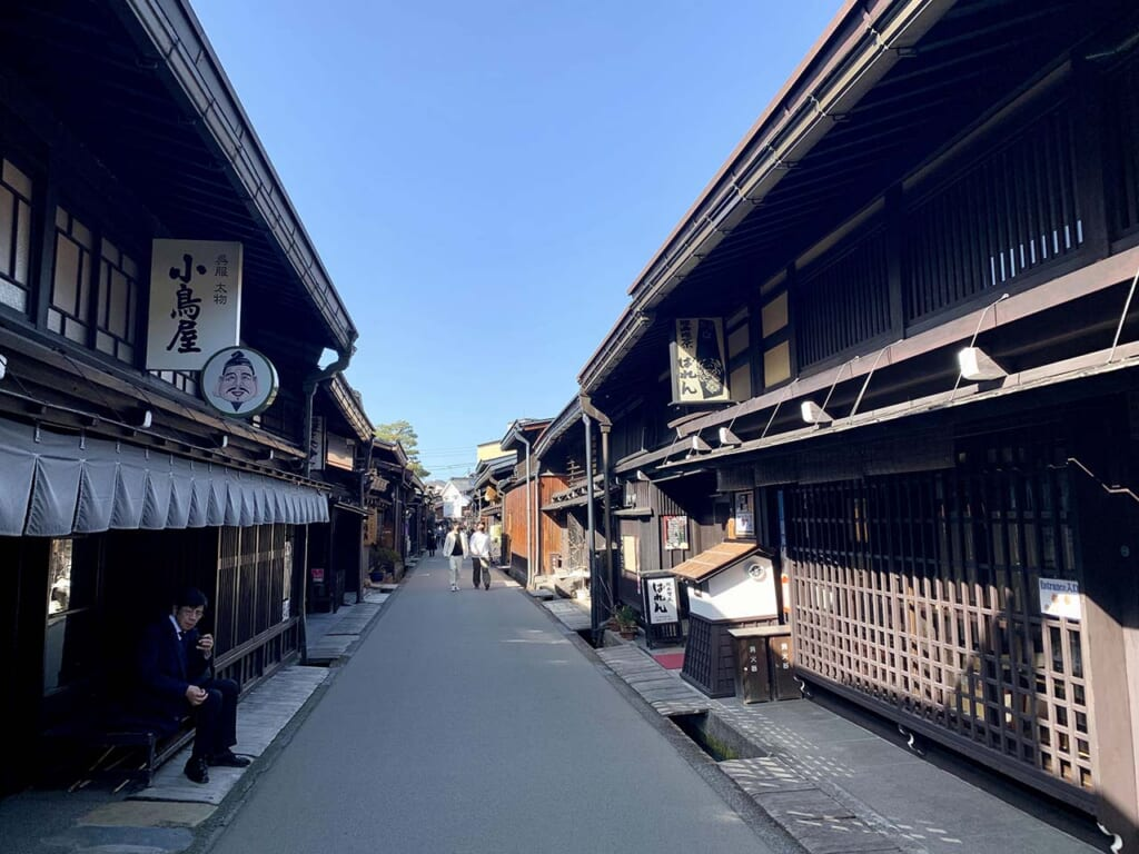 street lined with traditional Japanese houses in Takayama