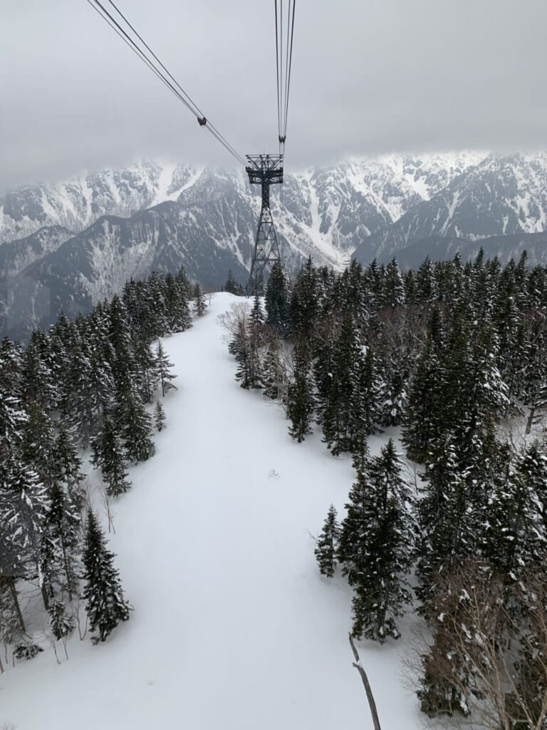 Japanese ropeway over snowy forest