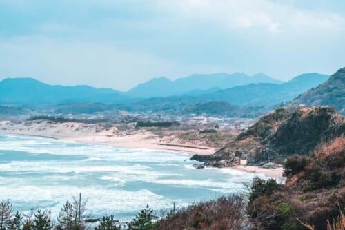 The rugged coastline of Iwami