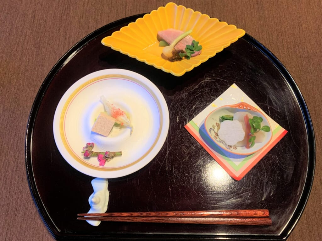 delicate dishes of a traditional Japanese meal