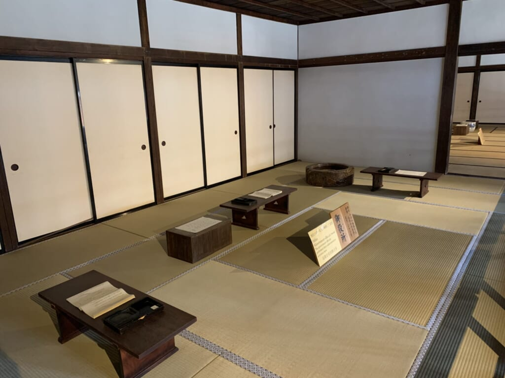 large tatami mat room with low tables