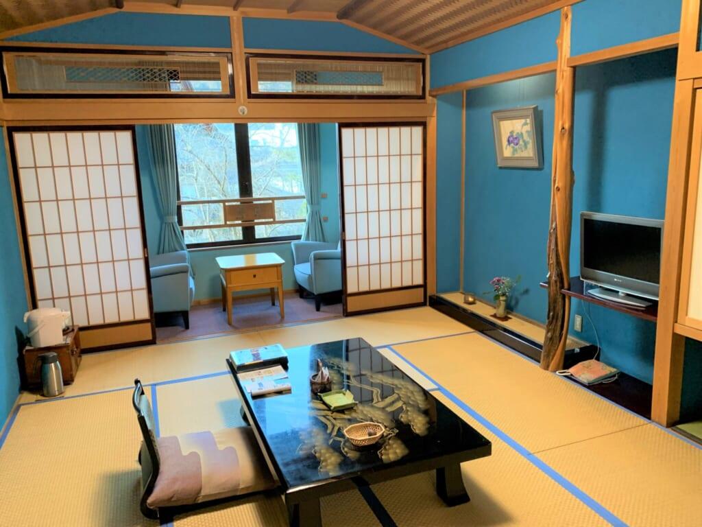 tatami room in traditional Japanese ryokan inn