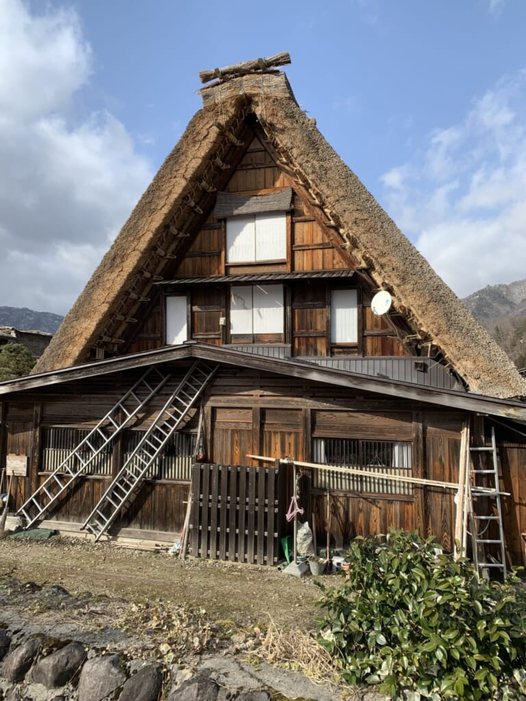 traditional Japanese thatched house in Gifu, Japan