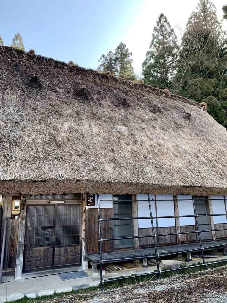 side view of thatched roof on house
