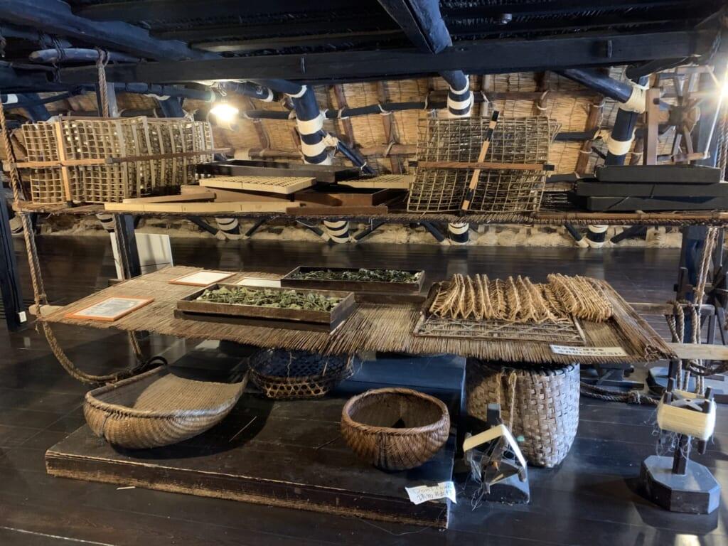 Japanese silkworm farming equipment in traditional thatched roof house in Shirakawa-go, Gifu, Japan
