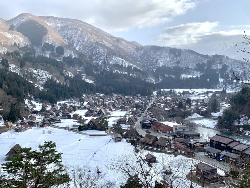 wide view of Japanese snowy mountain village in Shirakawa-go, Gifu, Japan