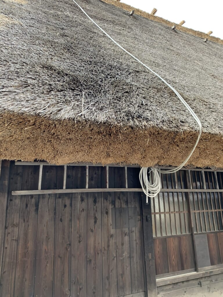 close-up of Japanese thatched roof in Gifu, Japan