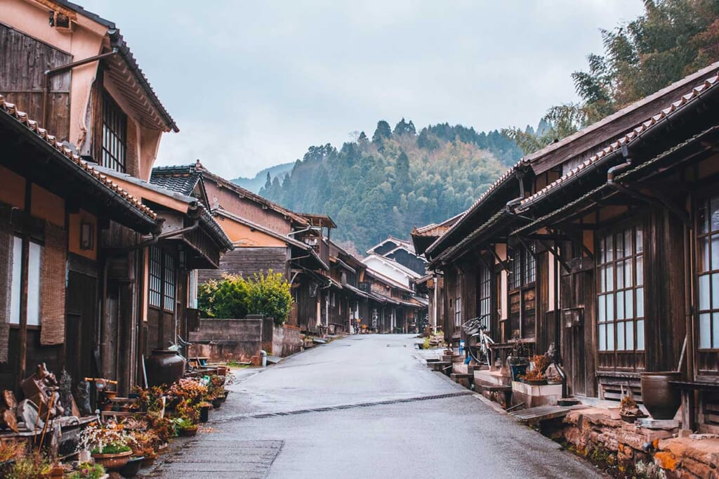 A traditional Japanese street with wooden houses in JApan