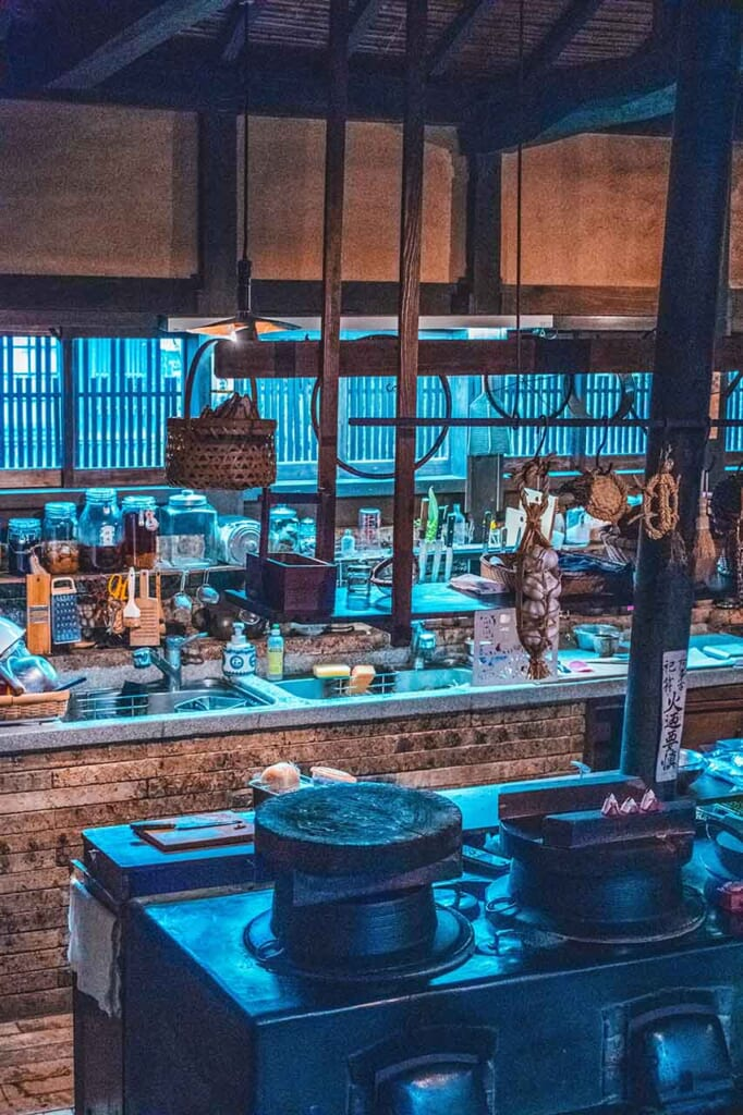 inside a Japanese hostel and wooden kitchen interior