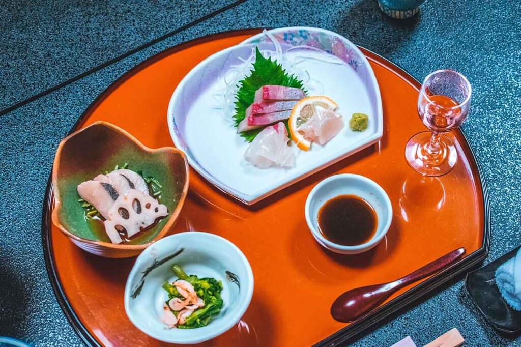Japanese sashimi raw fish and seafood meal