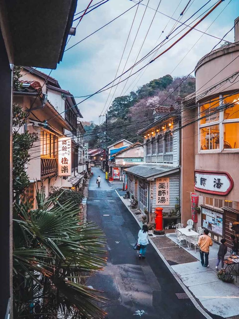 main street in Japanese hot spring onsen town in Japan