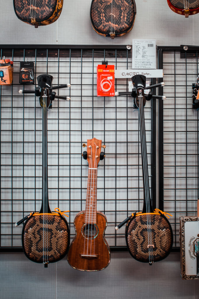 three traditional japanese instruments in Okinawa