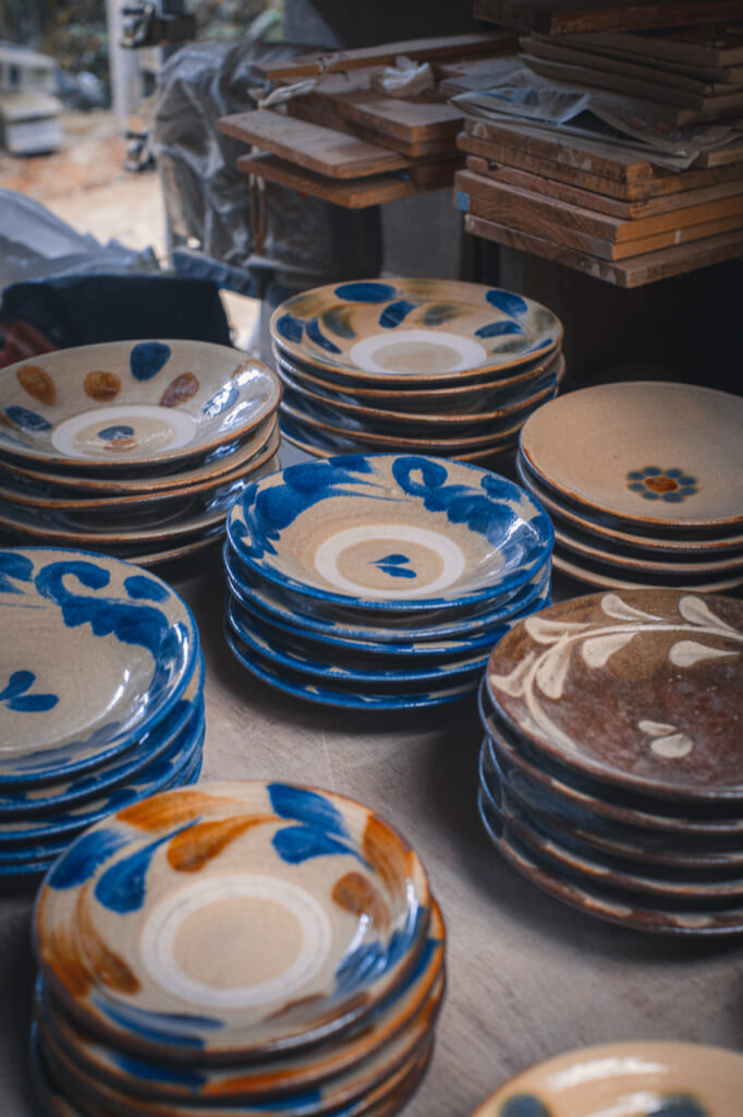 traditional japanese dishes and ceramics in okinawa