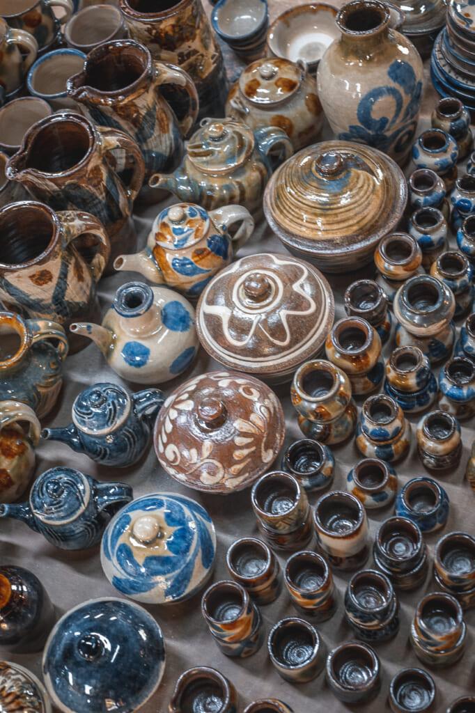 many japanese ceramics in matsuda workshop in Okinawa