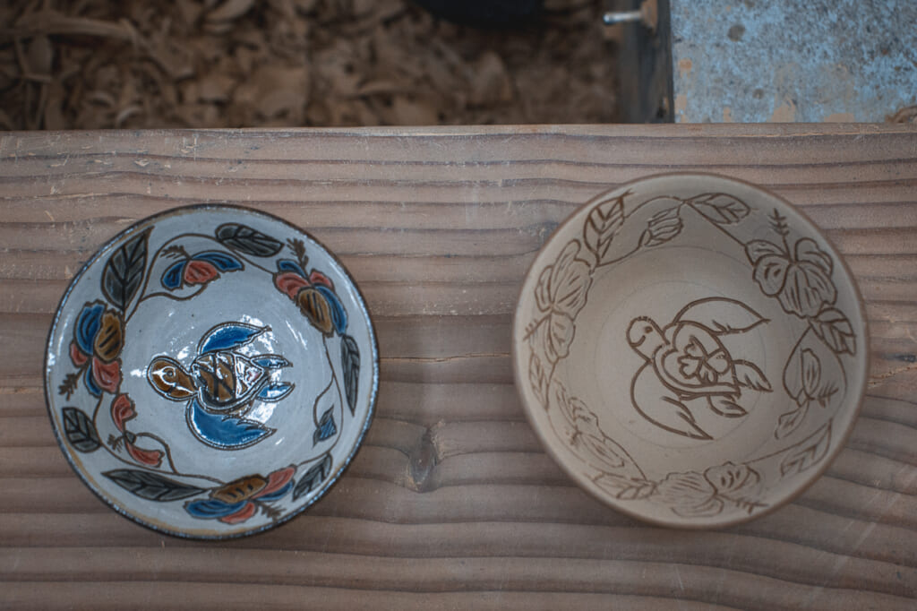 a finished ceramic bowl and an unfinished ceramic bowl in Okinawa, Japan
