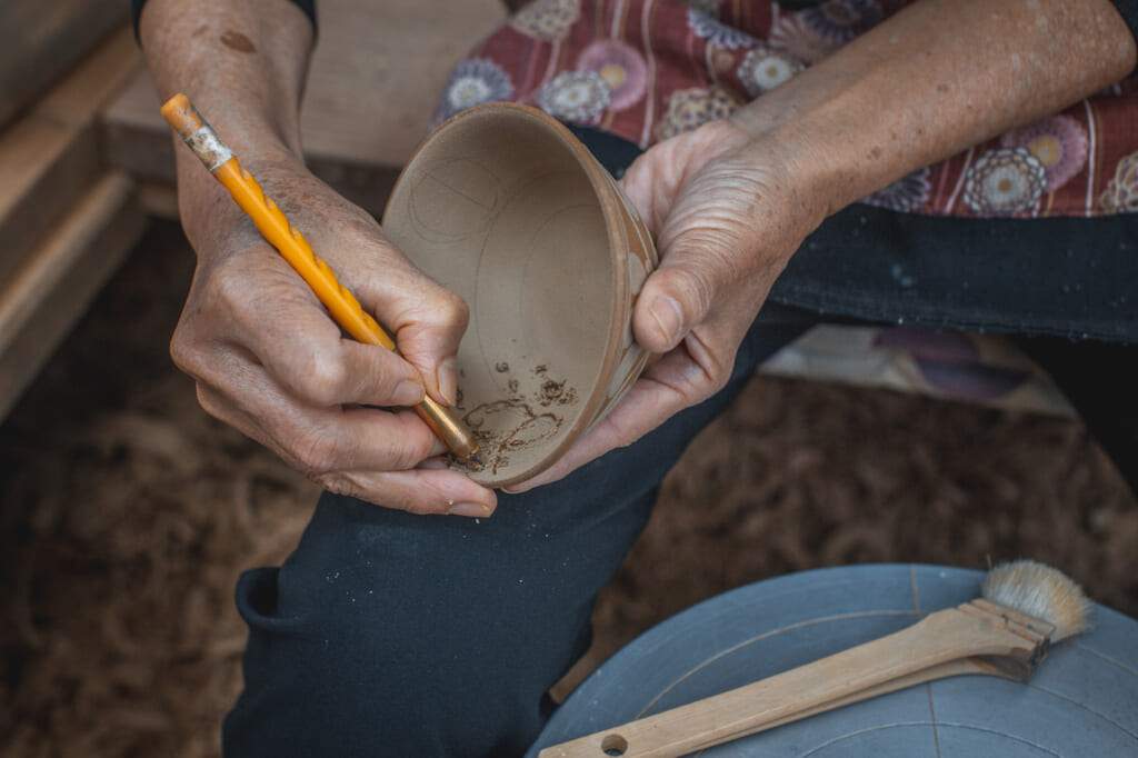 detail of carving technique in Okinawa, Japan