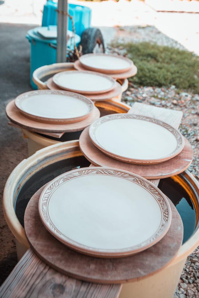 five ceramic plates in Japan
