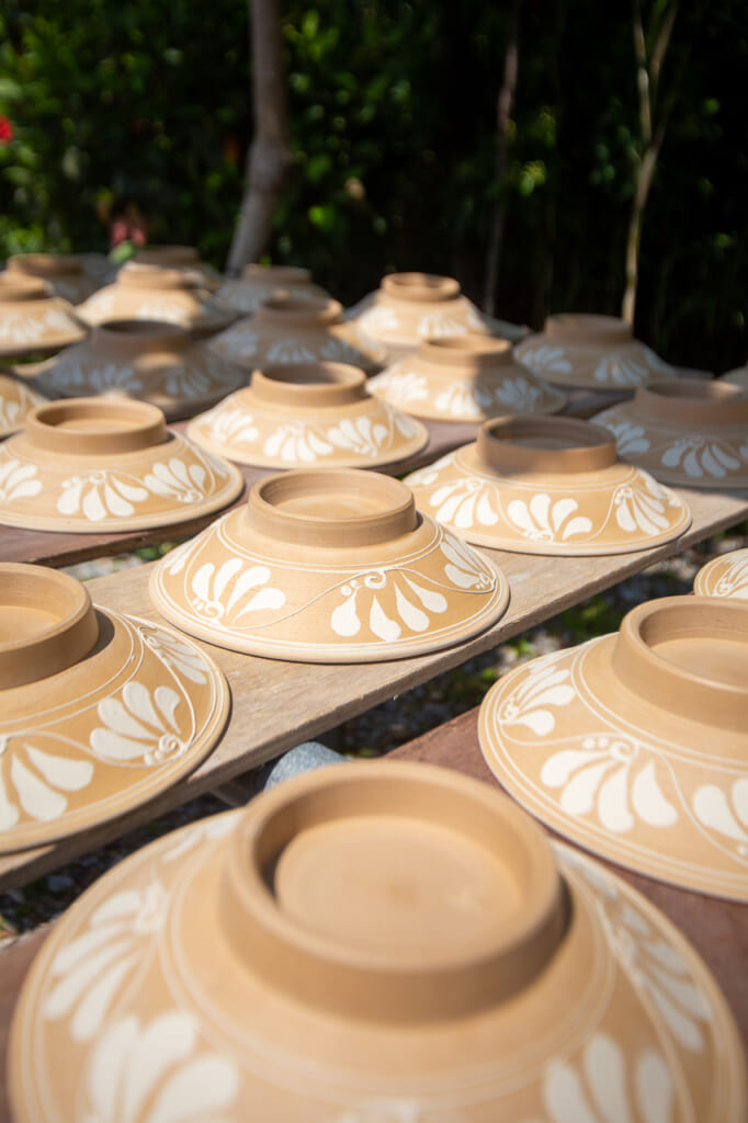 some plates drying under the sun in Japan