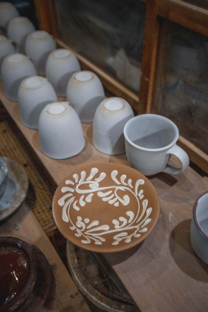 plates and mugs, Japanese handmade pottery in Okinawa, Japan