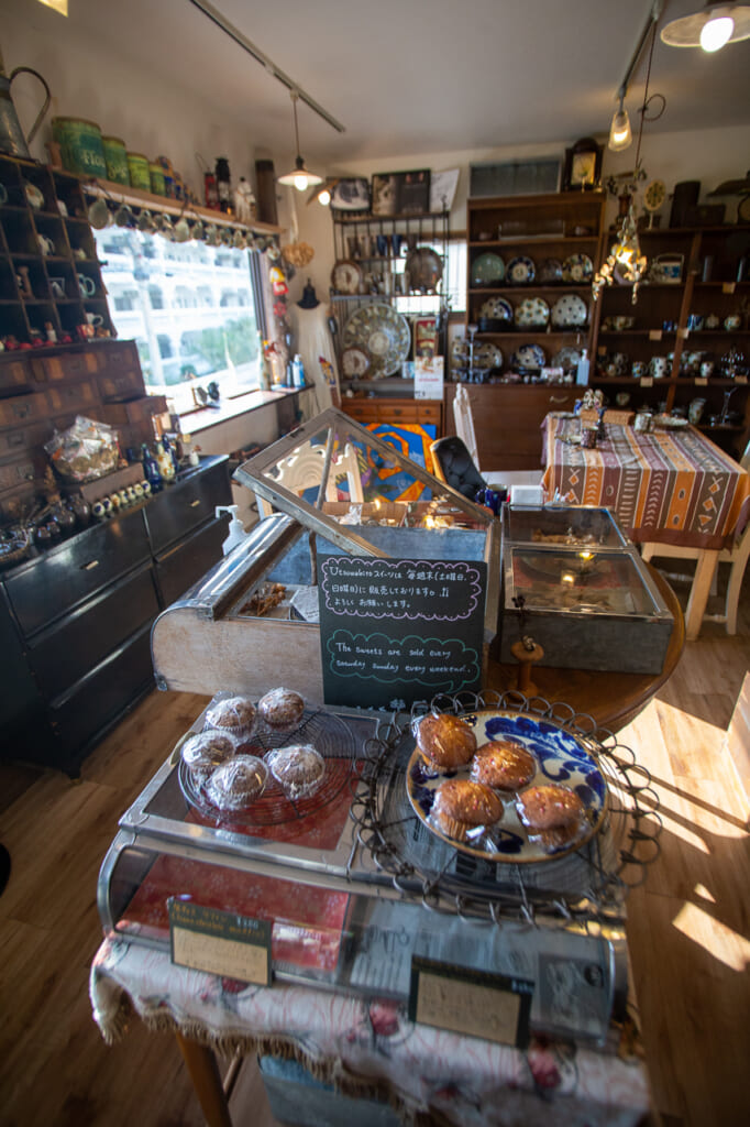 Japanese handmade cakes in a shop in okinawa