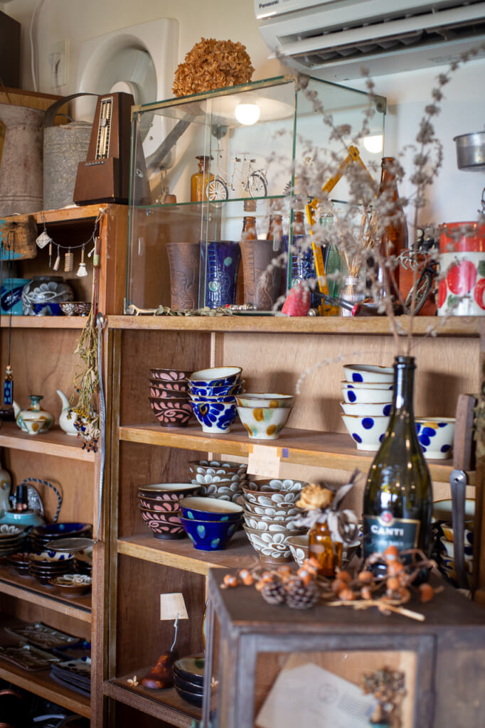 many Japanese ceramic crafts in a shop  in Okinawa
