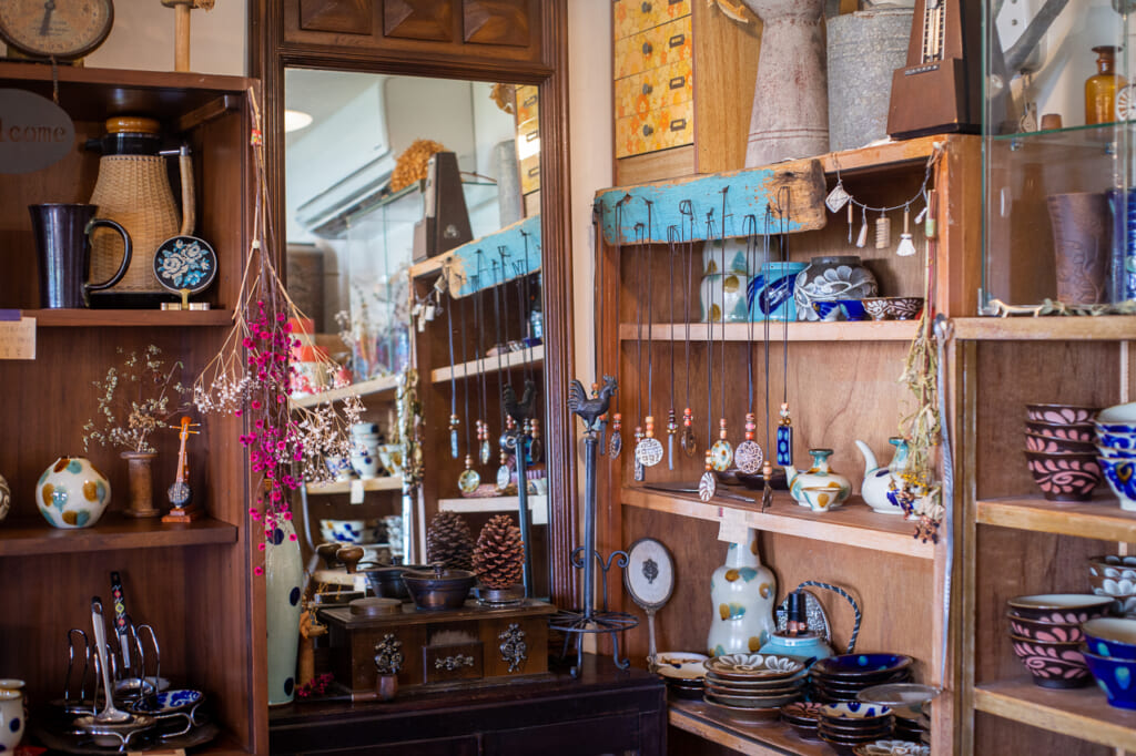 Japanese handmade pottery in a shop in okinawa