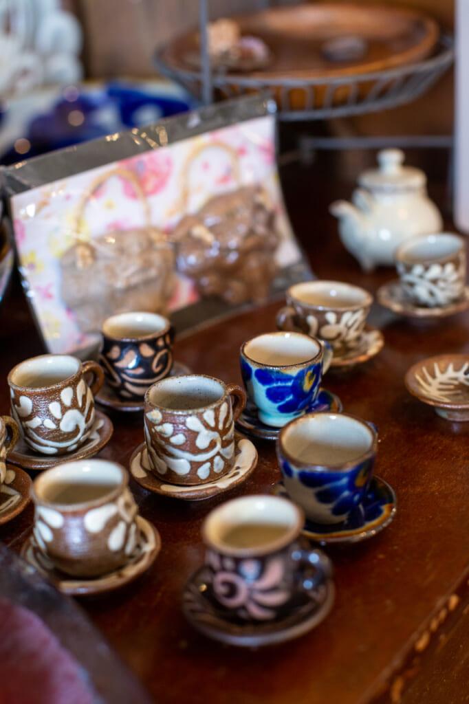 detail of small ceramic mugs in okinawa