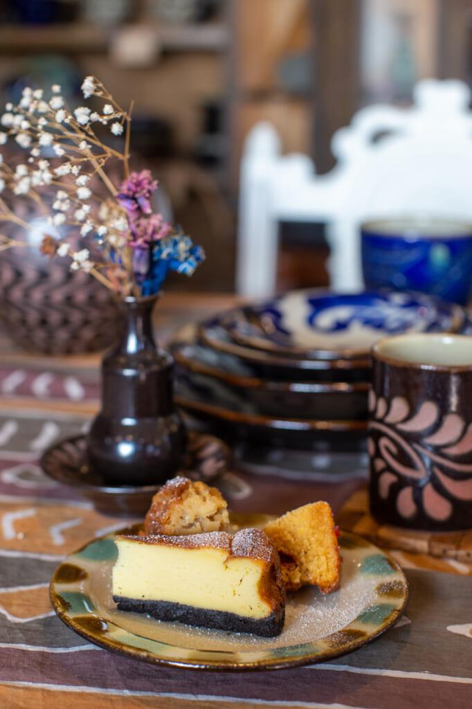 Japanese handmade pottery and cakes in okinawa