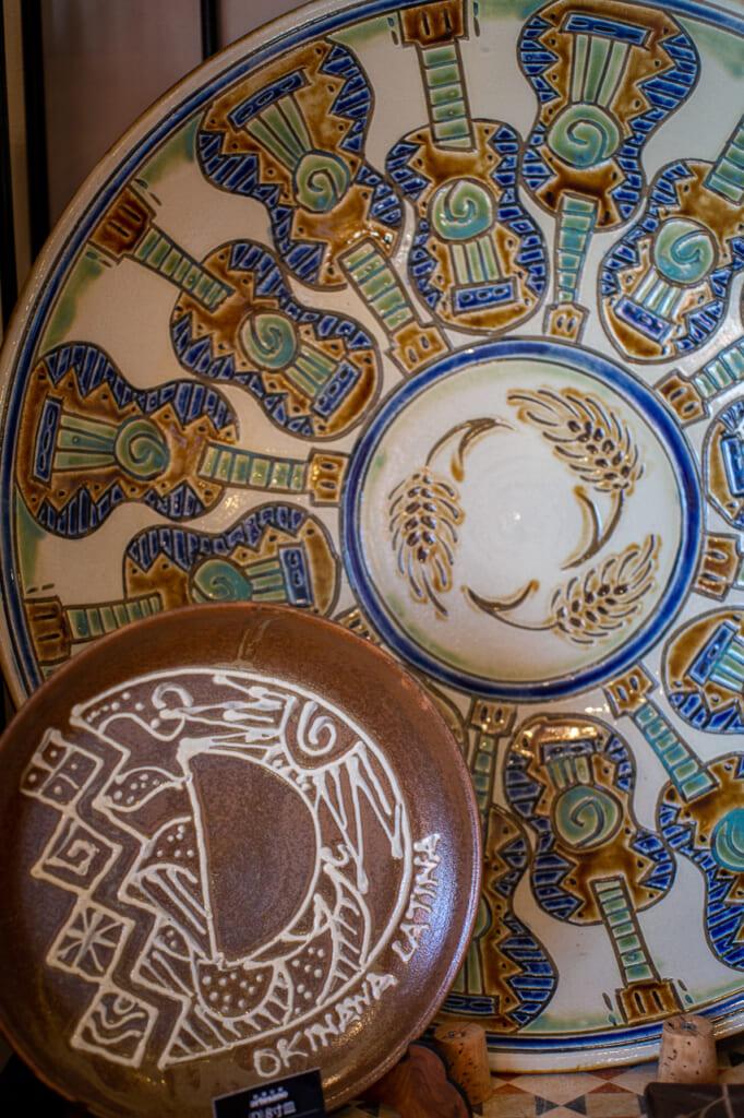 two big Japanese ceramic plates in okinawa