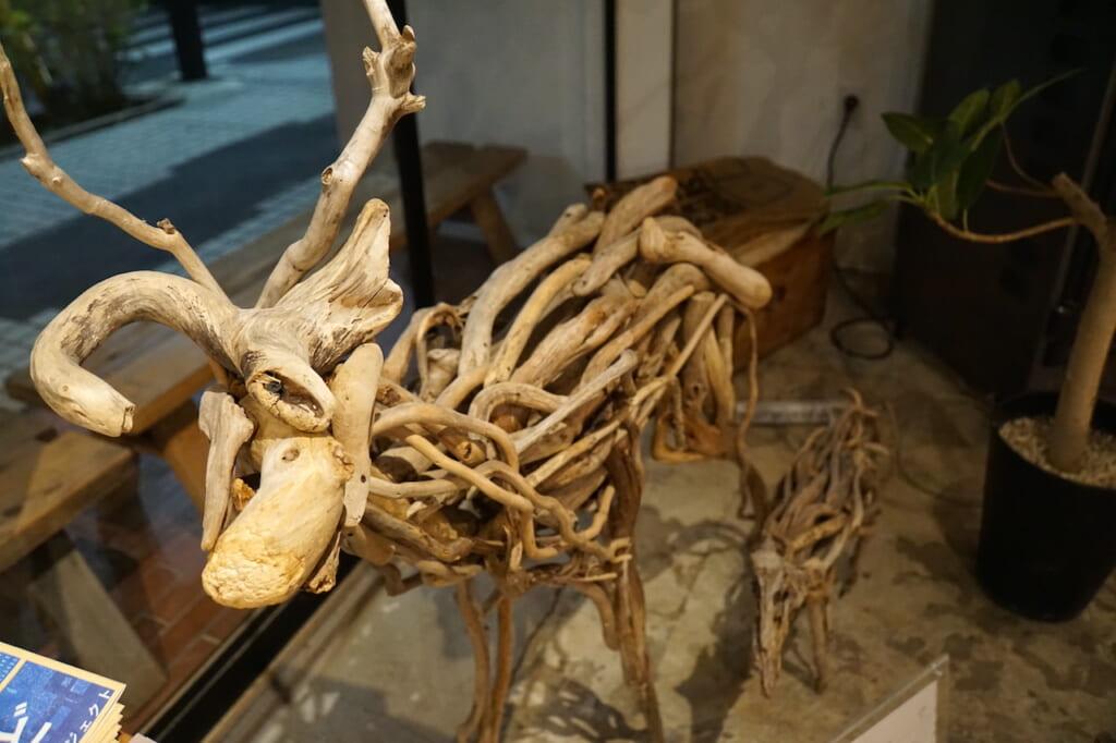 deer sculpture made of driftwood in Japanese restaurant