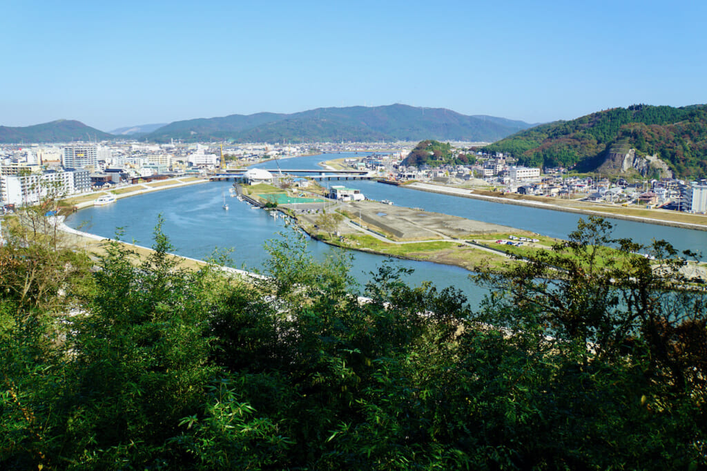 wide view of island in river in Japan