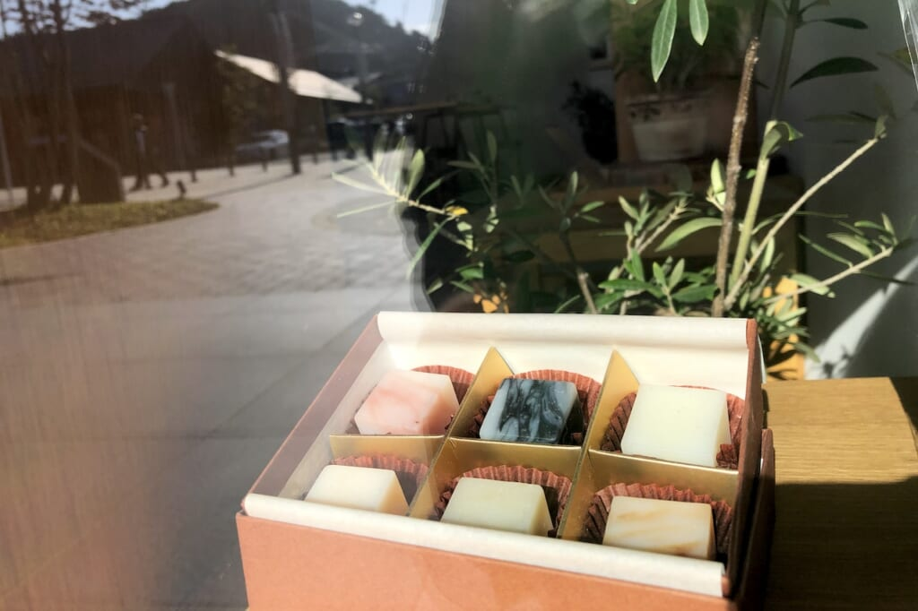 Cubes of Japanese handcrafted soap in window
