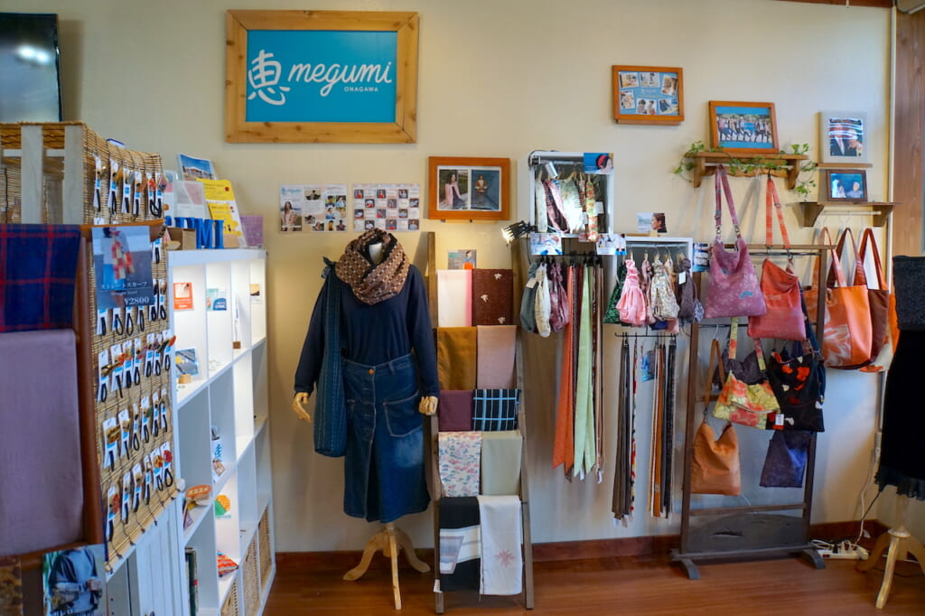Japanese handcrafted accessories on display in shop