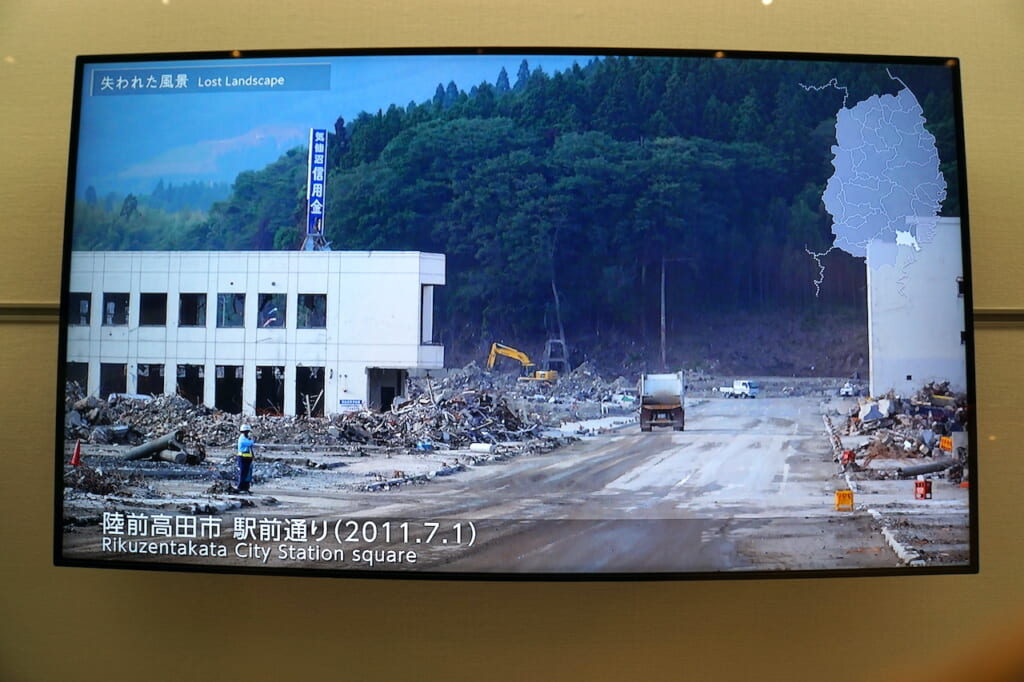 image of street in rubble in Japan after the 2011 Tsunami