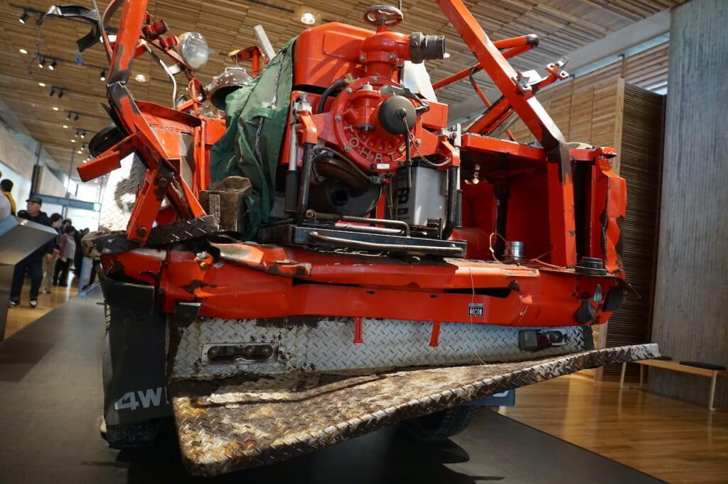 mangled fire truck in the Iwate Tsunami Memorial Museum