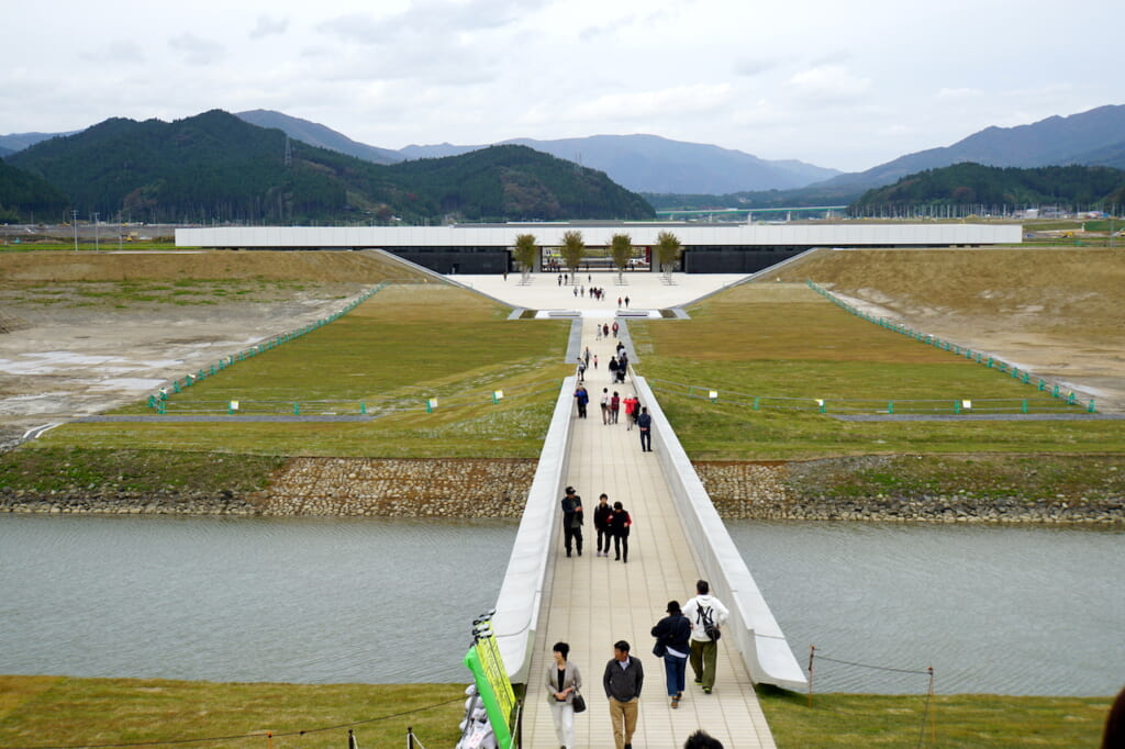 long footbridge leading to Japanese museum