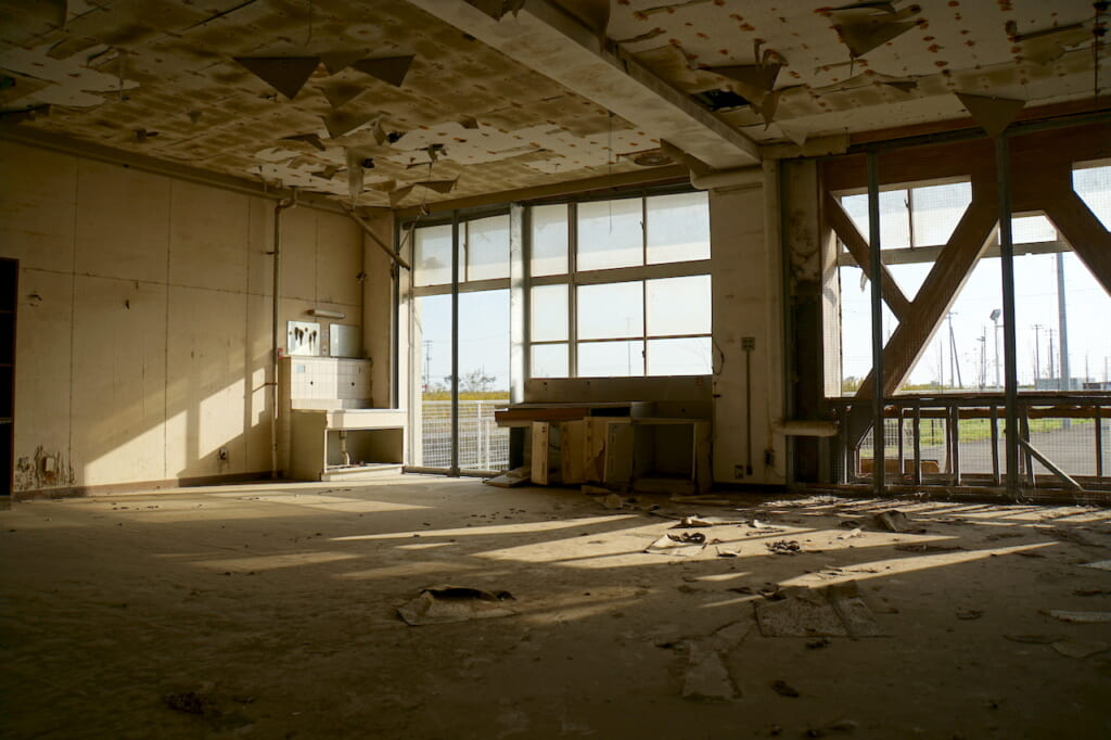 gutted first floor interior of Japanese school that was an evacuation location for residents during the 2011 Tsunami